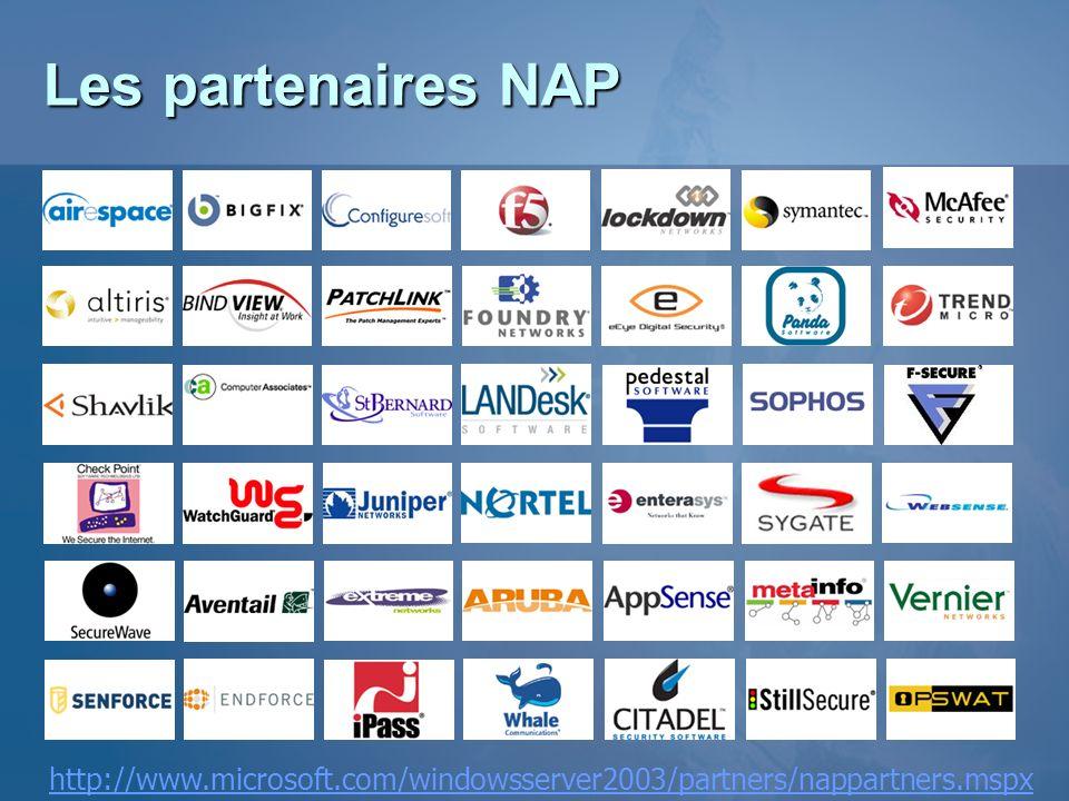 3/26/2017 3:55 PM Les partenaires NAP. 1- Antivirus. 2- Management et Update Management. 3- Networking (Cisco est également un partenaire)