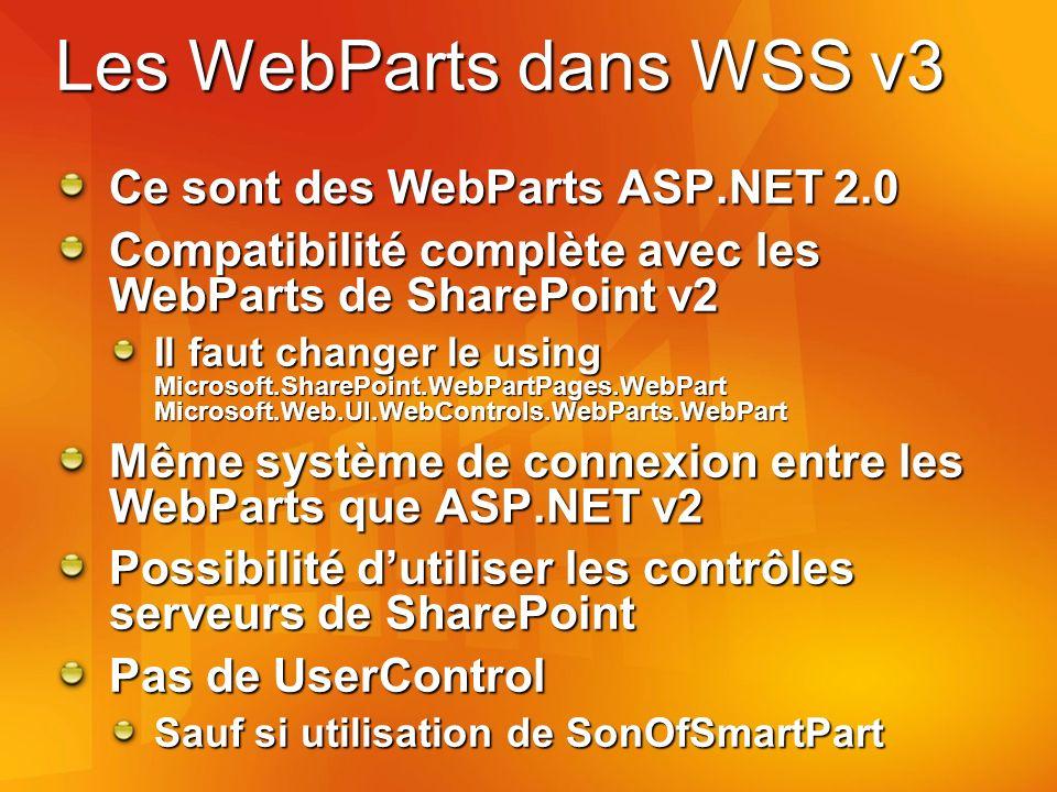 Les WebParts dans WSS v3 Ce sont des WebParts ASP.NET 2.0