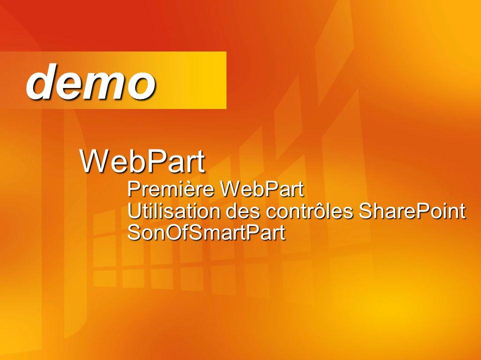 demo WebPart Première WebPart Utilisation des contrôles SharePoint SonOfSmartPart.