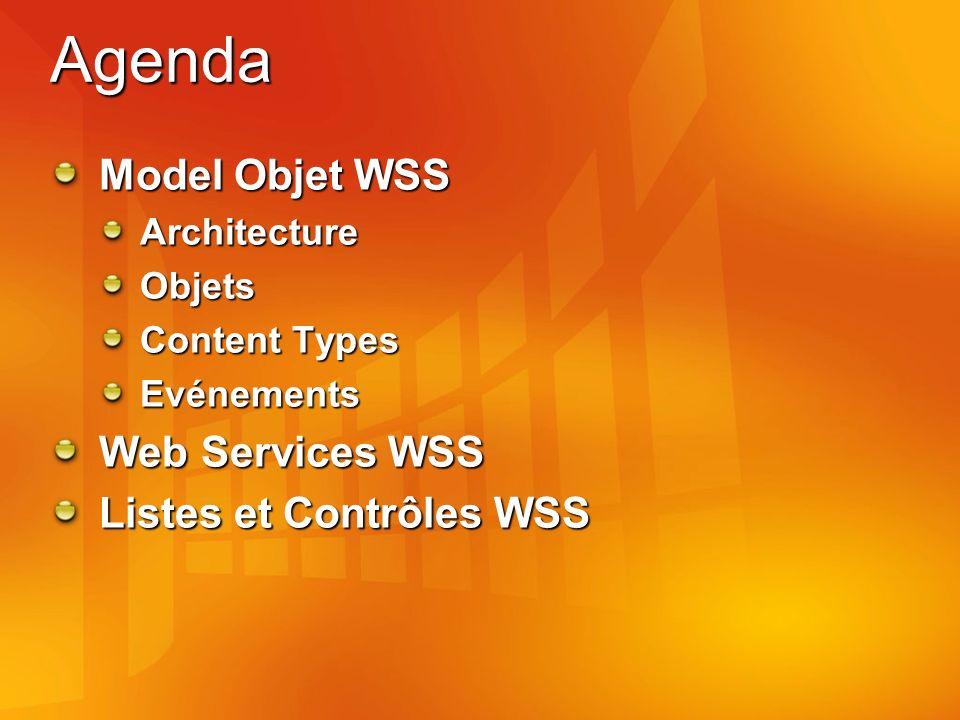 Agenda Model Objet WSS Web Services WSS Listes et Contrôles WSS