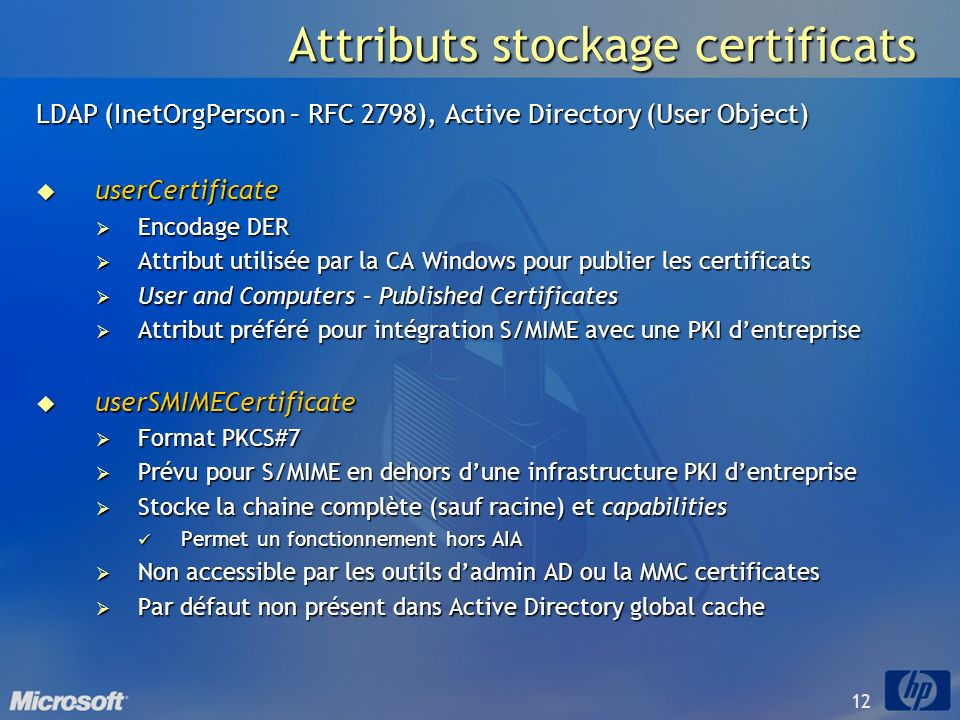 Attributs stockage certificats