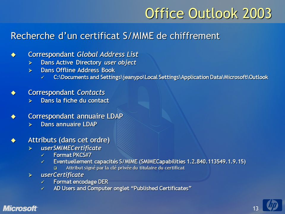 Office Outlook 2003 Recherche d'un certificat S/MIME de chiffrement