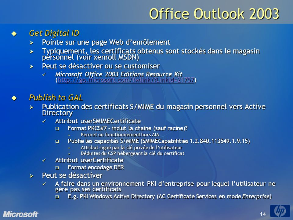 Office Outlook 2003 Get Digital ID Publish to GAL