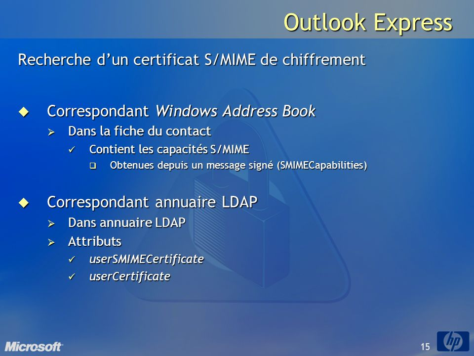 Outlook Express Recherche d'un certificat S/MIME de chiffrement