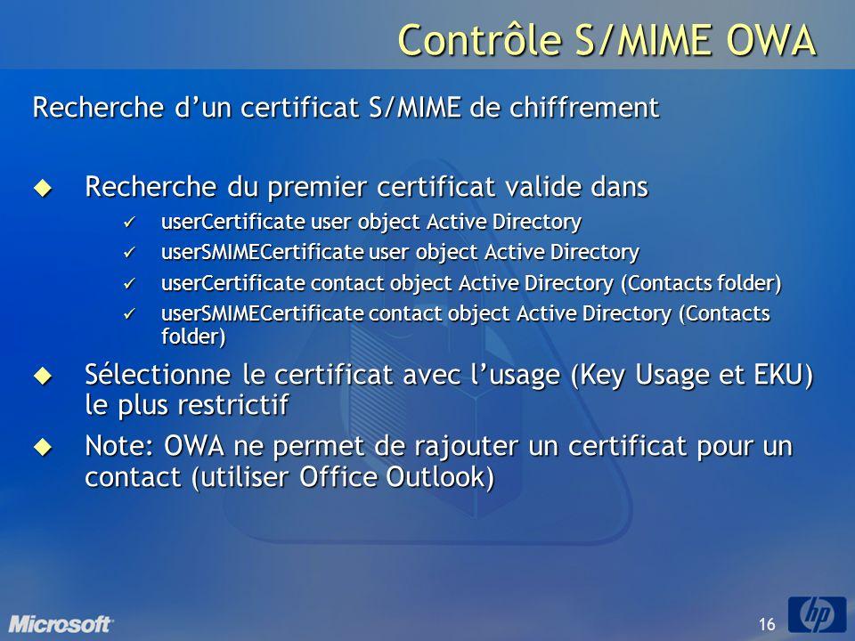 Contrôle S/MIME OWA Recherche d'un certificat S/MIME de chiffrement