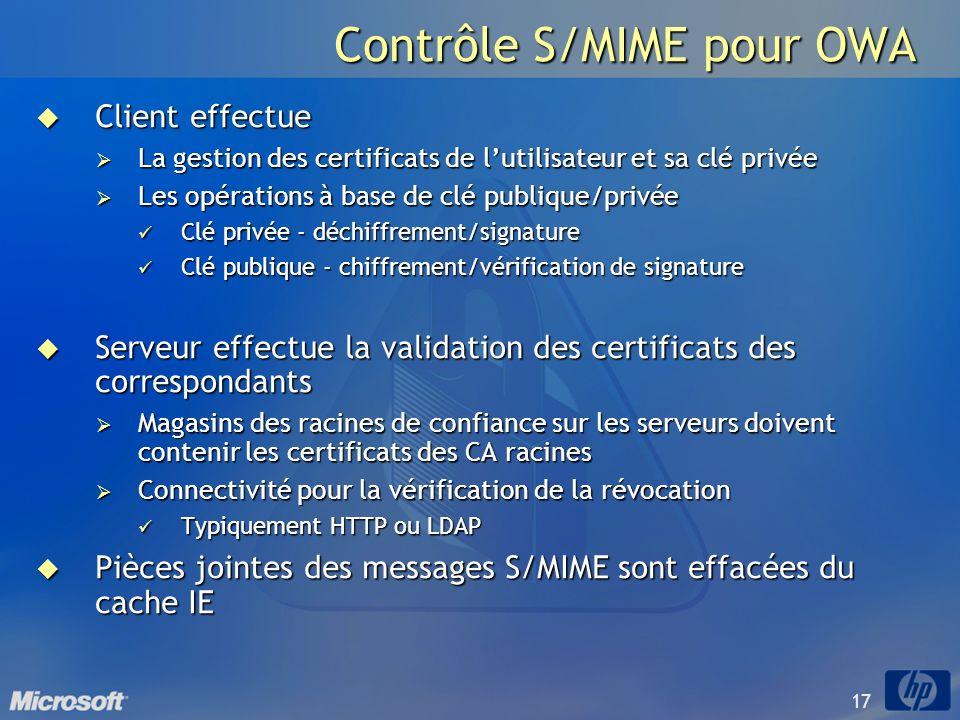 Contrôle S/MIME pour OWA