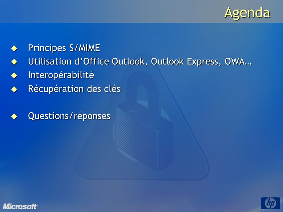 Agenda Principes S/MIME
