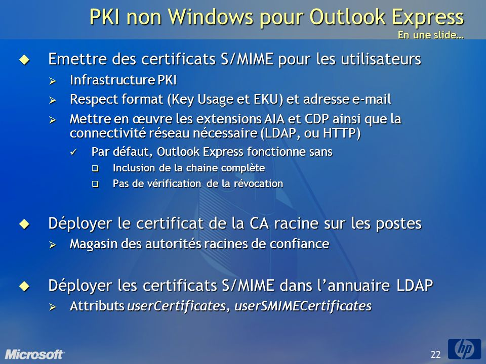PKI non Windows pour Outlook Express En une slide…