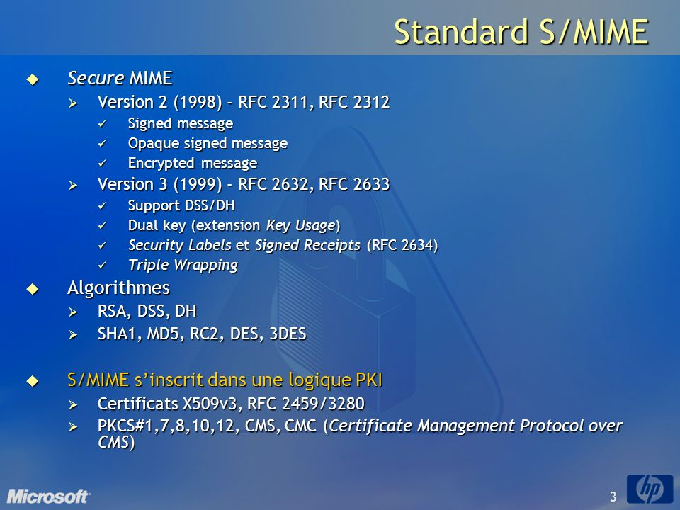 Standard S/MIME Secure MIME Algorithmes