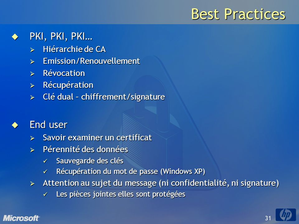 Best Practices PKI, PKI, PKI… End user Hiérarchie de CA