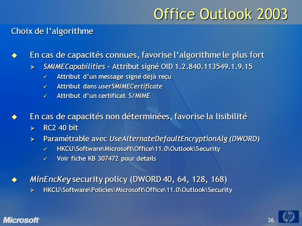 Office Outlook 2003 Choix de l'algorithme