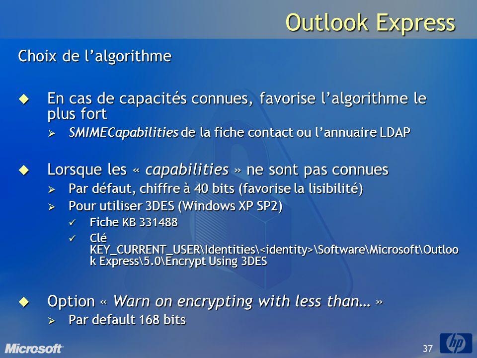 Outlook Express Choix de l'algorithme