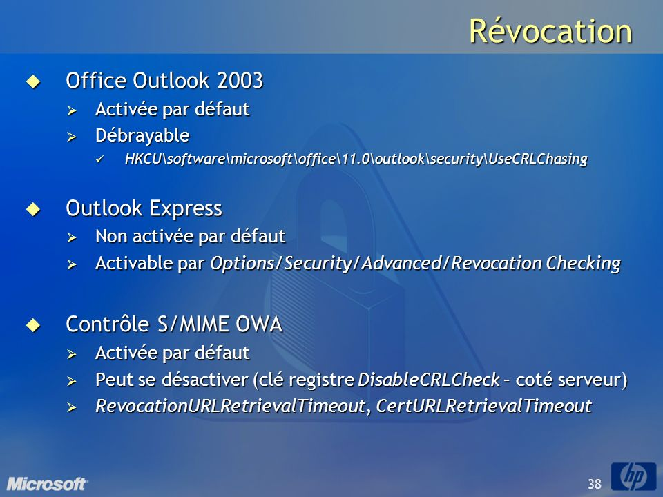Révocation Office Outlook 2003 Outlook Express Contrôle S/MIME OWA