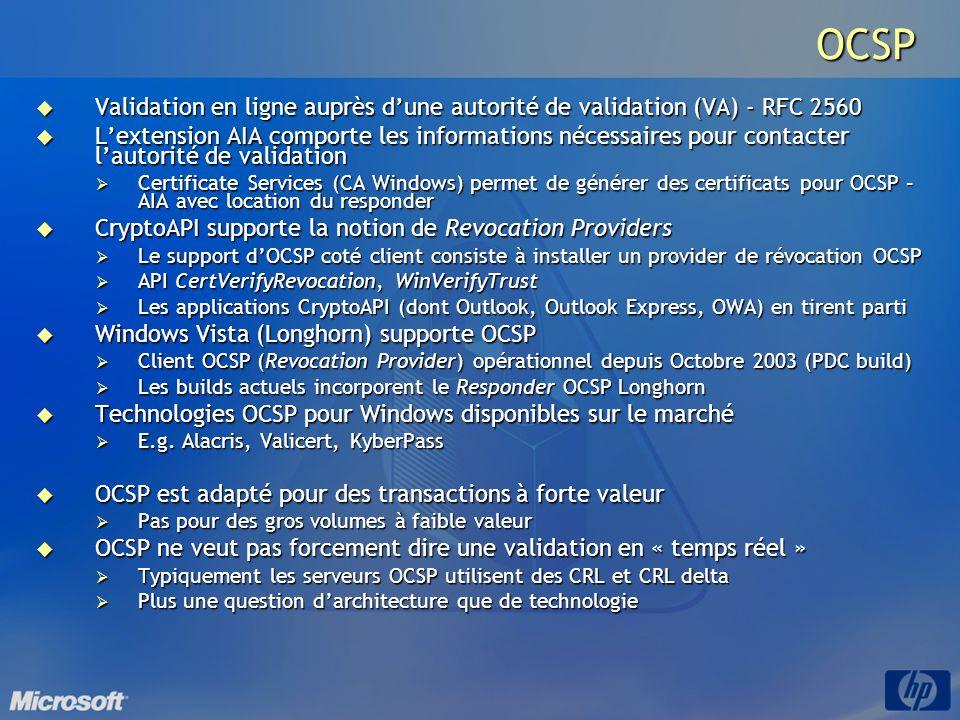 OCSP Validation en ligne auprès d'une autorité de validation (VA) - RFC 2560.