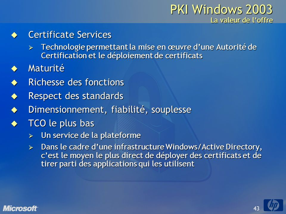 PKI Windows 2003 La valeur de l'offre