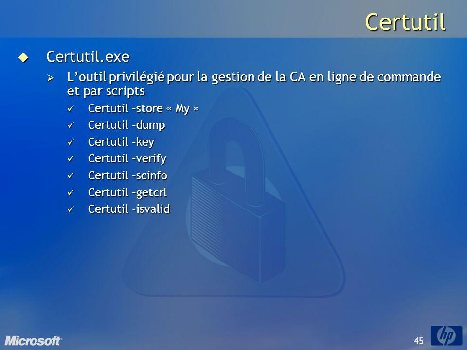 CertutilCertutil.exe. L'outil privilégié pour la gestion de la CA en ligne de commande et par scripts.