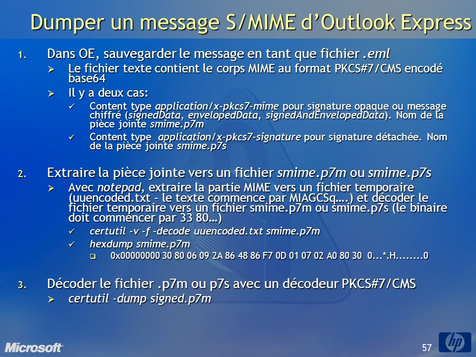 Dumper un message S/MIME d'Outlook Express