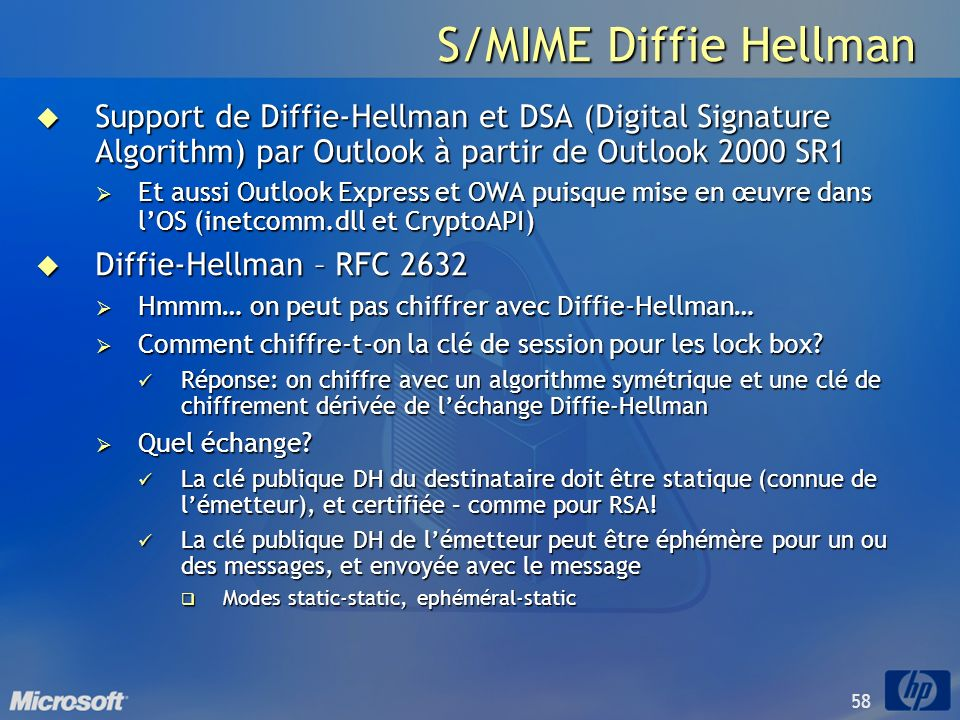 S/MIME Diffie Hellman Support de Diffie-Hellman et DSA (Digital Signature Algorithm) par Outlook à partir de Outlook 2000 SR1.