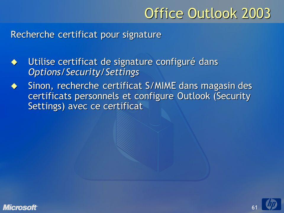 Office Outlook 2003 Recherche certificat pour signature