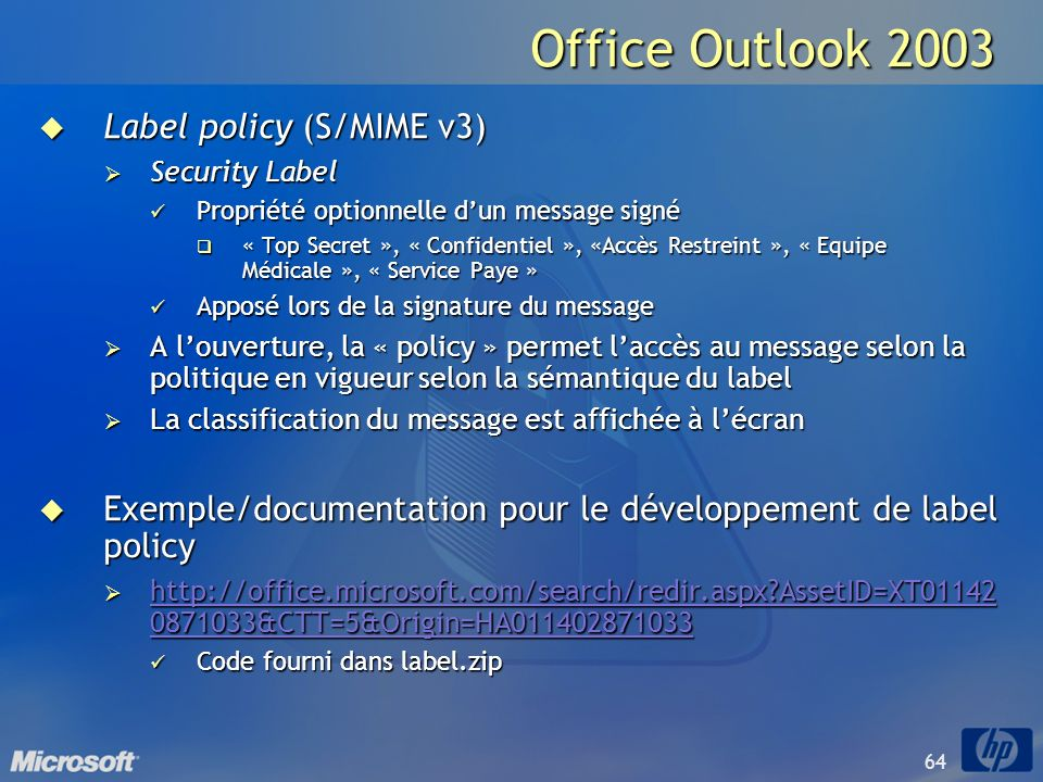 Office Outlook 2003 Label policy (S/MIME v3)