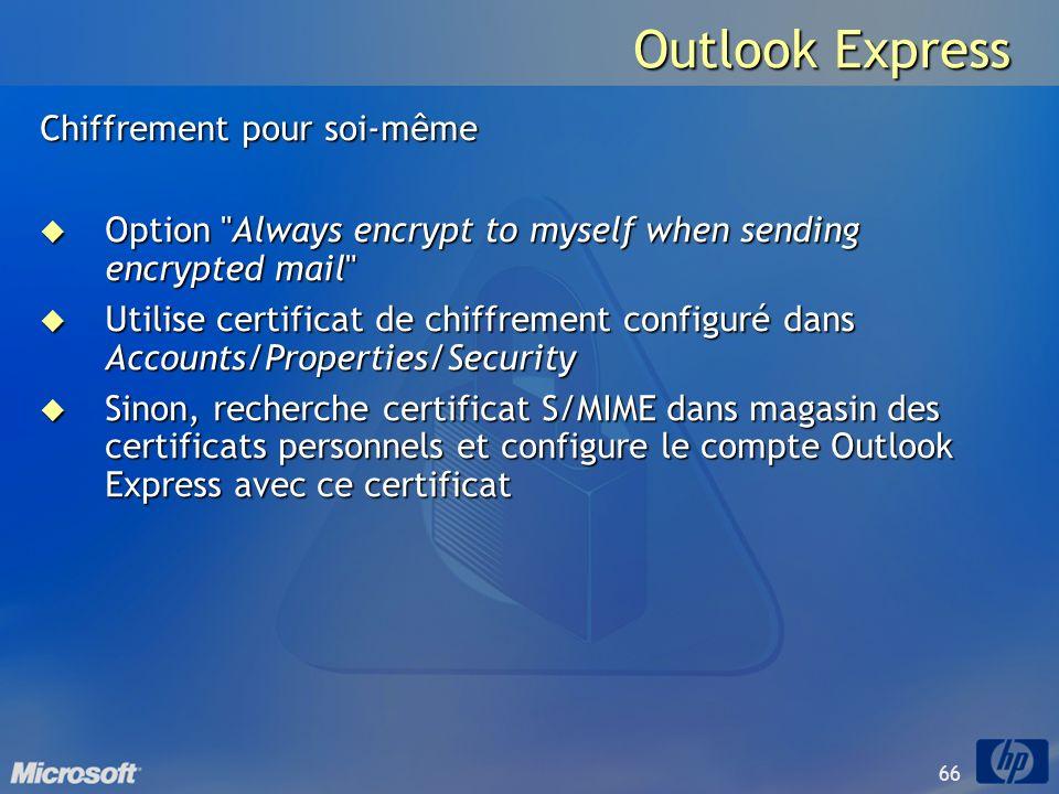 Outlook Express Chiffrement pour soi-même