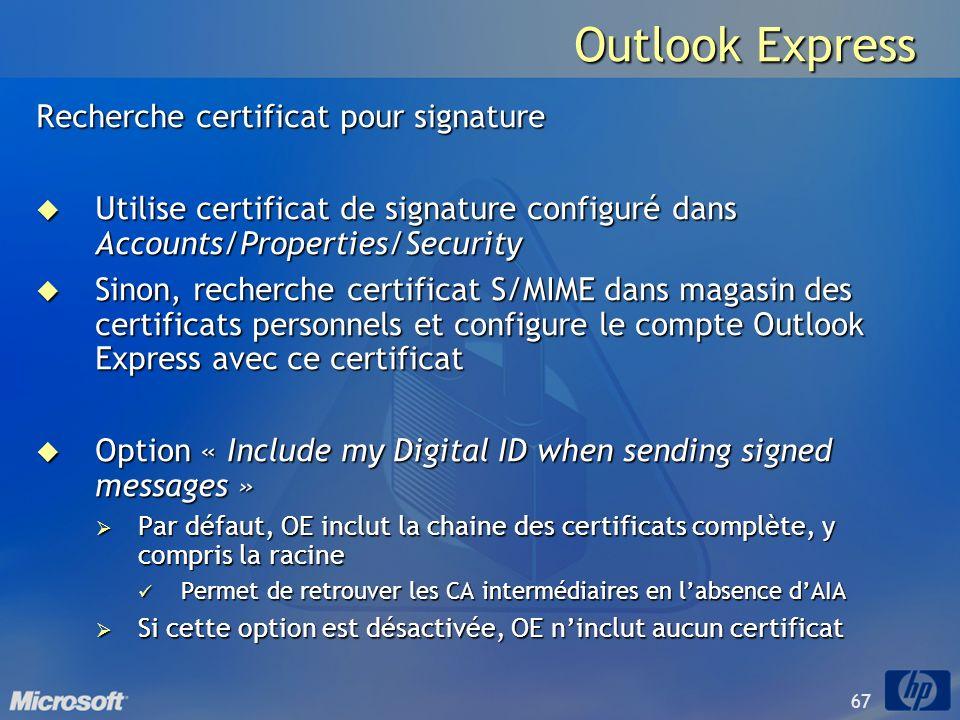 Outlook Express Recherche certificat pour signature