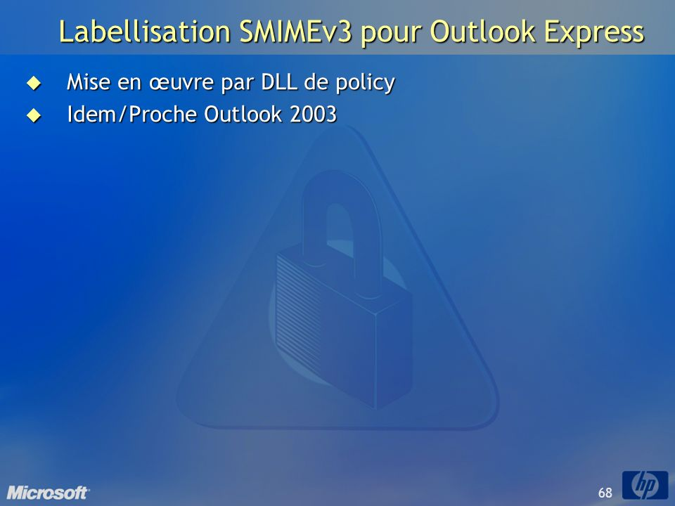 Labellisation SMIMEv3 pour Outlook Express