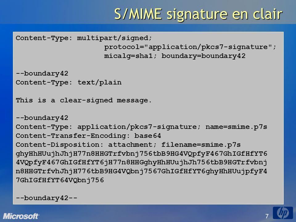 S/MIME signature en clair