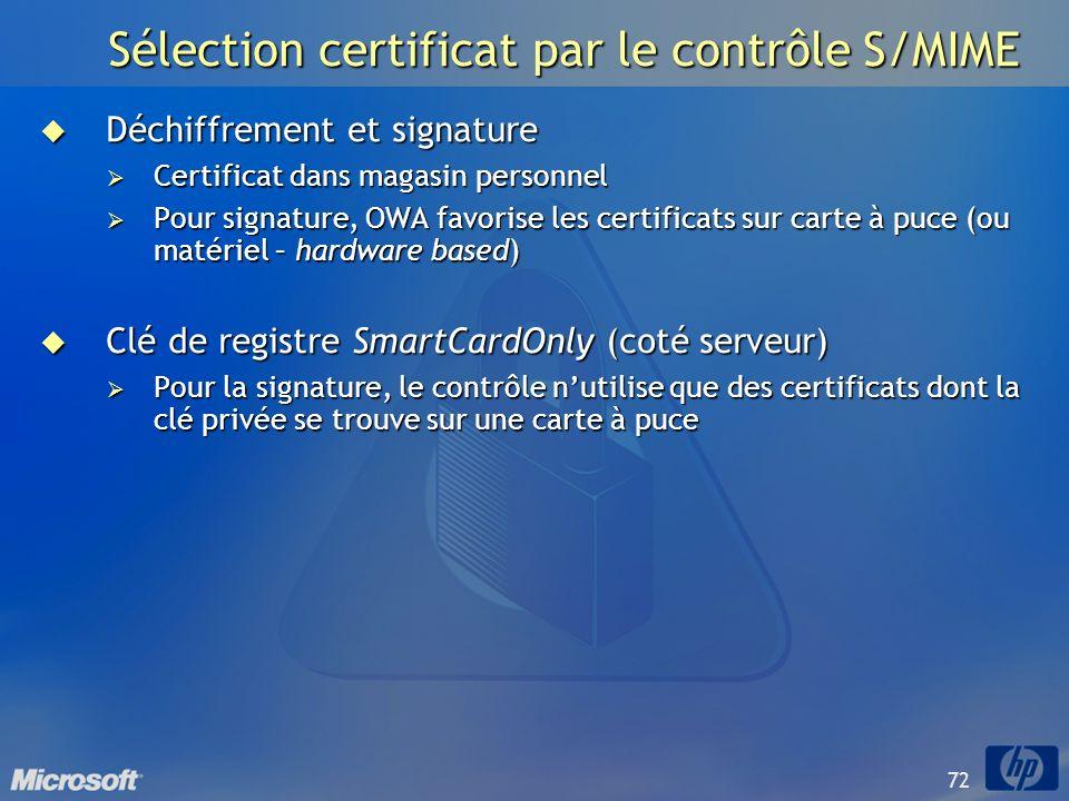 Sélection certificat par le contrôle S/MIME