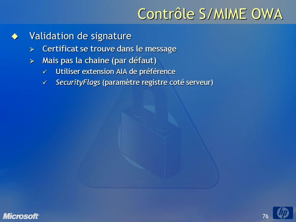 Contrôle S/MIME OWA Validation de signature