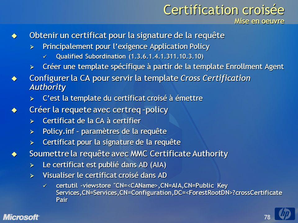 Certification croisée Mise en oeuvre