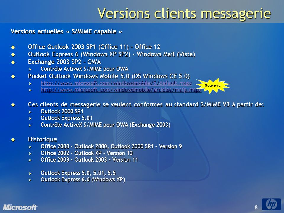 Versions clients messagerie