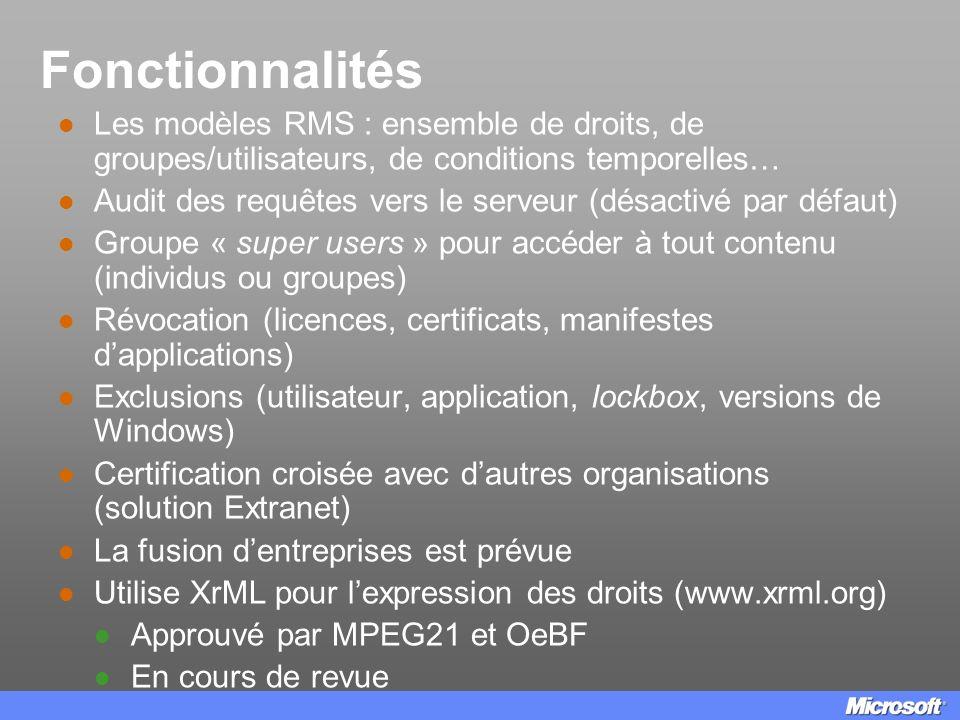 Fonctionnalités Les modèles RMS : ensemble de droits, de groupes/utilisateurs, de conditions temporelles…