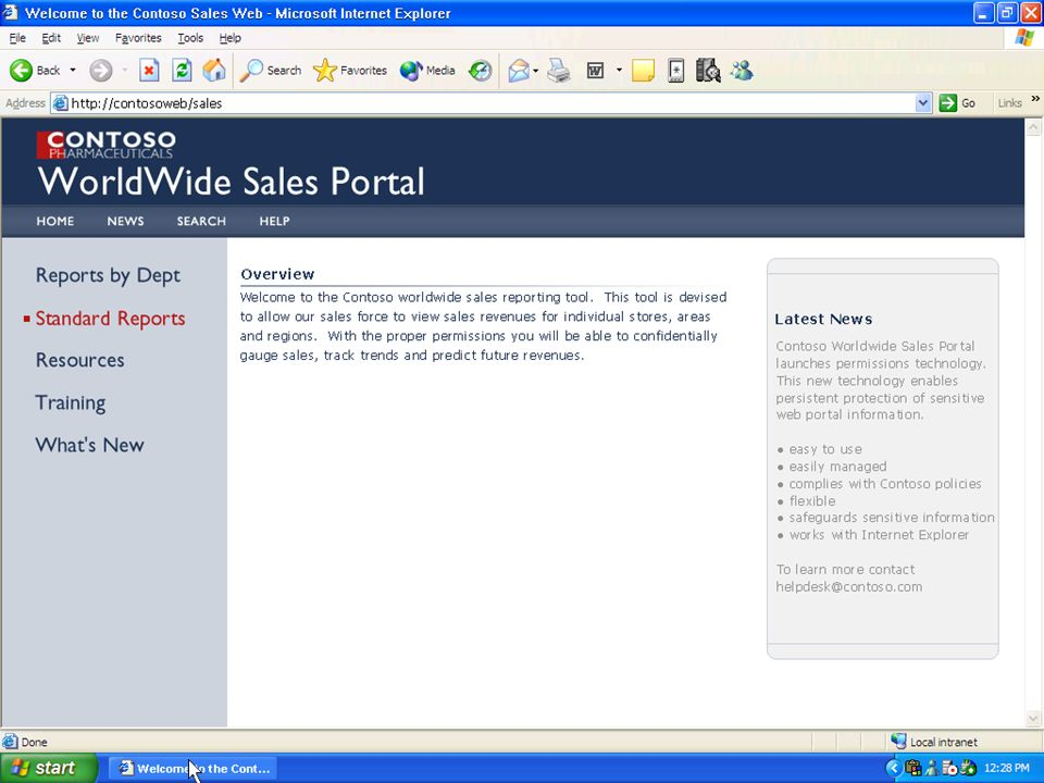 Worldwide sales portal home page