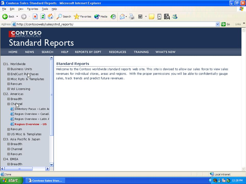 Standard reports menu