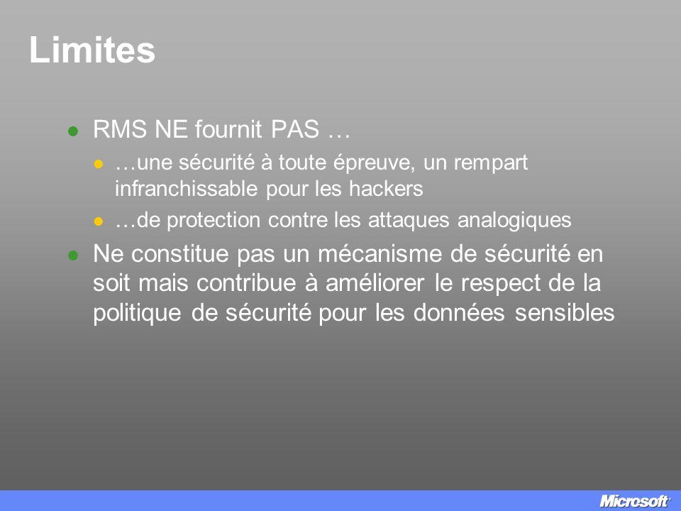 Limites RMS NE fournit PAS …