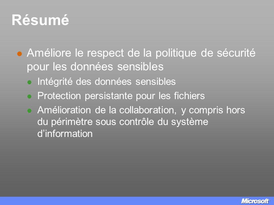 Résumé Améliore le respect de la politique de sécurité pour les données sensibles. Intégrité des données sensibles.