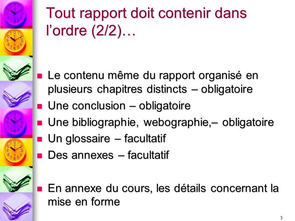 sommaire d u00e9finition du rapport structurer le contenu