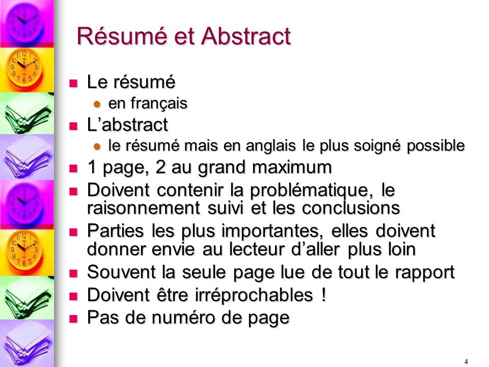 Résumé et Abstract Le résumé L'abstract 1 page, 2 au grand maximum