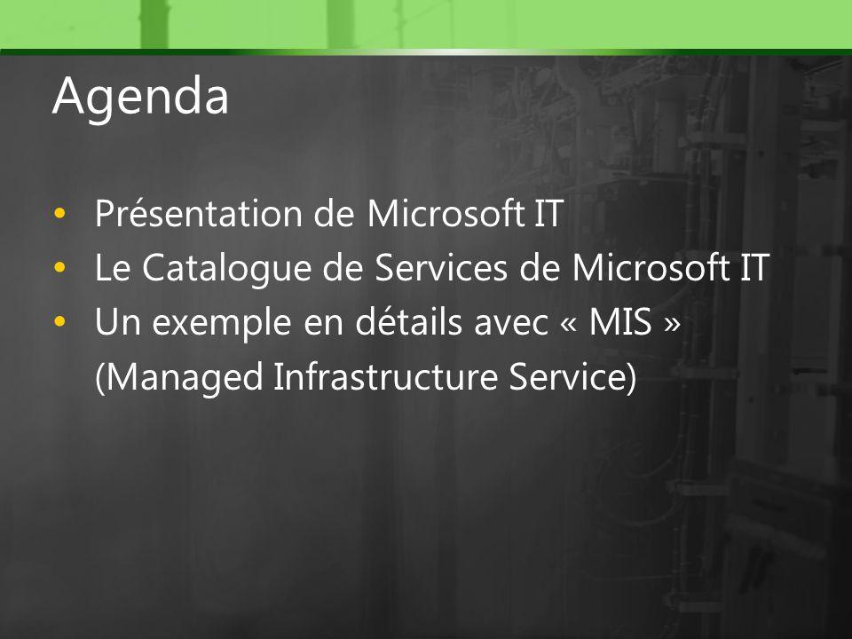 Agenda Présentation de Microsoft IT