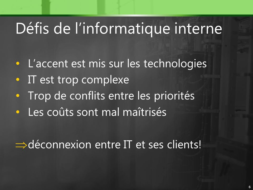 Défis de l'informatique interne