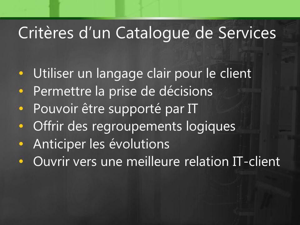 Critères d'un Catalogue de Services
