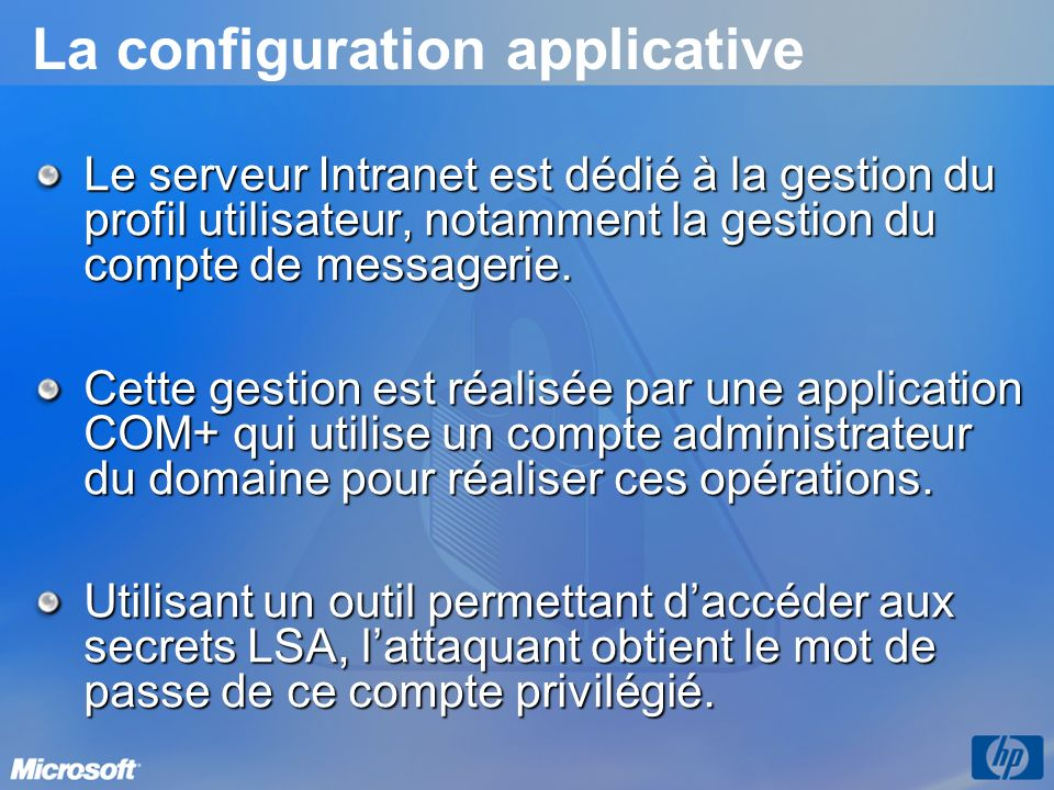 La configuration applicative