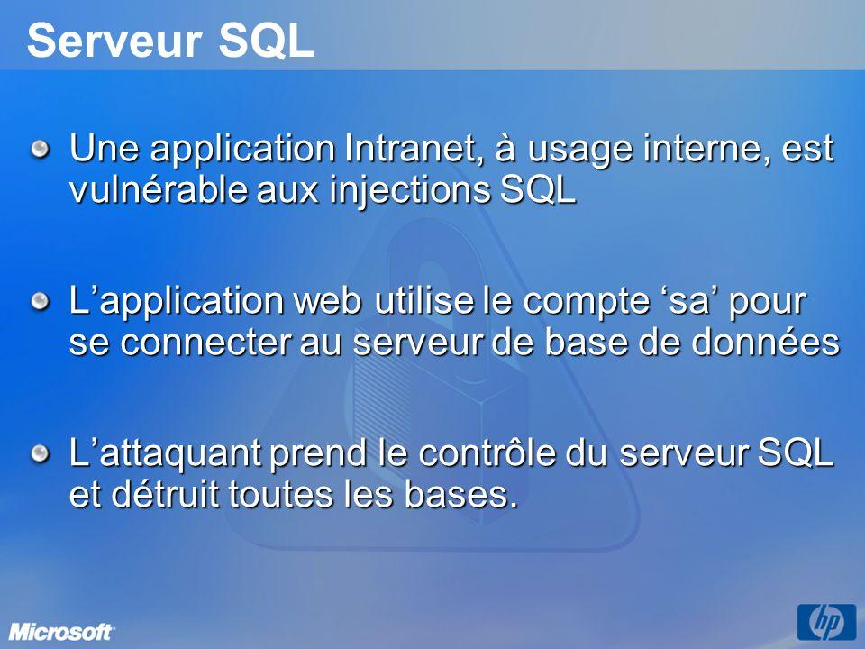 Serveur SQL Une application Intranet, à usage interne, est vulnérable aux injections SQL.