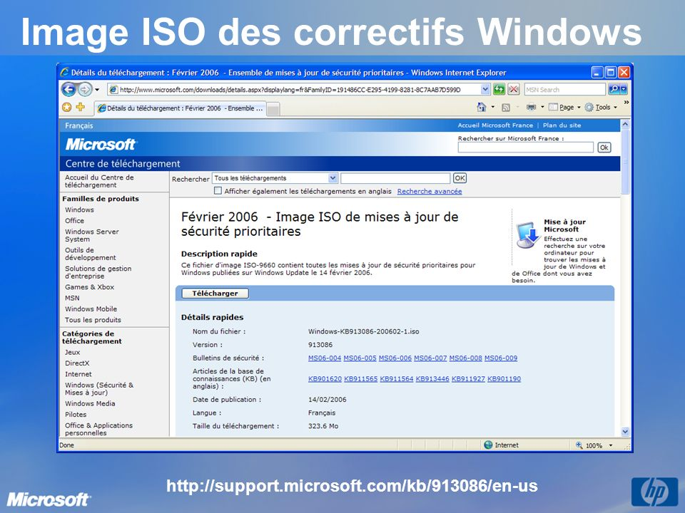 Image ISO des correctifs Windows