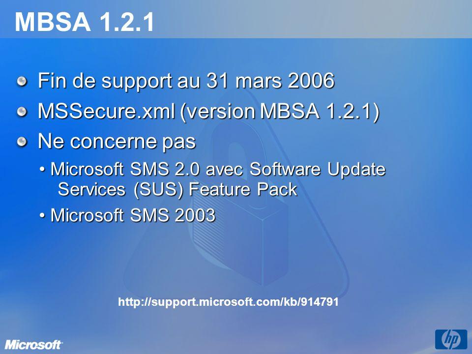 MBSA 1.2.1 Fin de support au 31 mars 2006