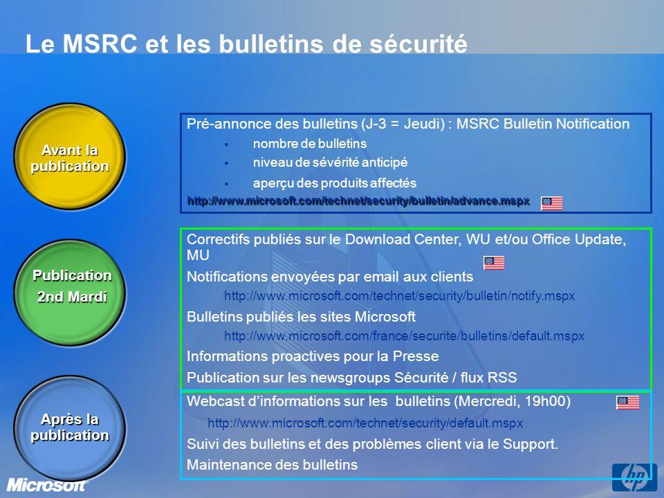 Le MSRC et les bulletins de sécurité