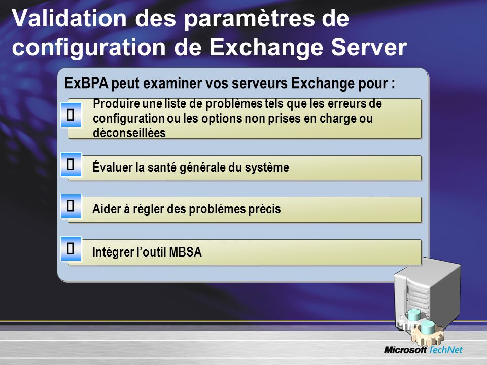 Validation des paramètres de configuration de Exchange Server