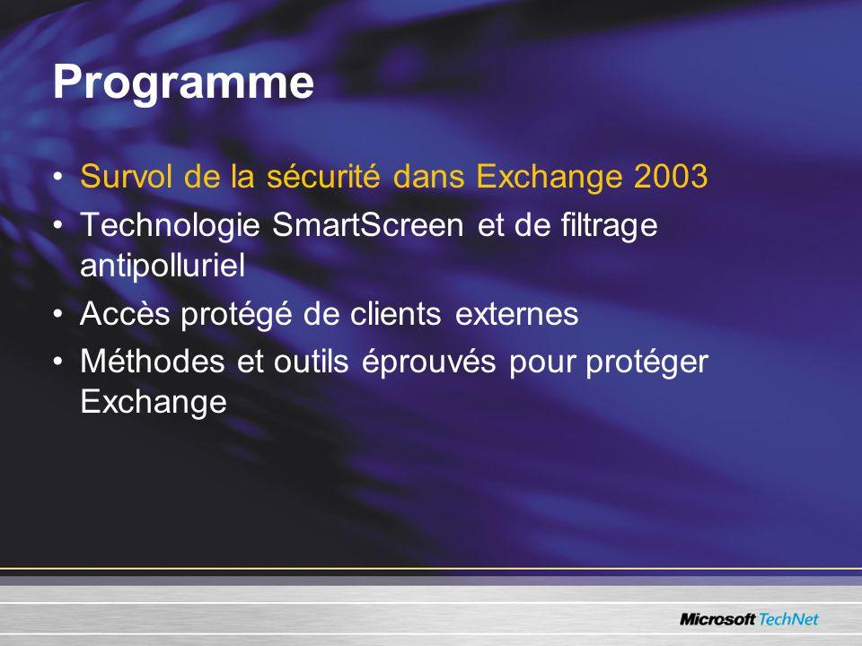 Programme Survol de la sécurité dans Exchange 2003