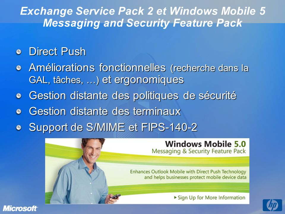 Exchange Service Pack 2 et Windows Mobile 5 Messaging and Security Feature Pack